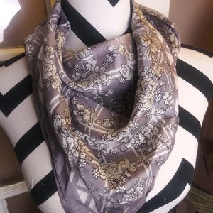 Vintage Scarf Gray Silver Flowers